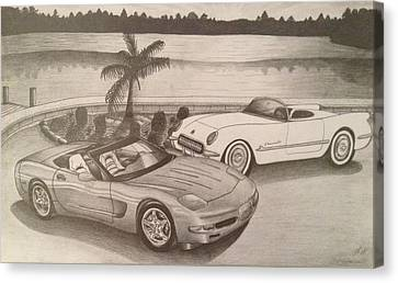 50 Years Of Corvette 1953-2003 Canvas Print by Peter Griffen