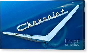 57 Chevy Bel Air Emblem Canvas Print by Mark Dodd