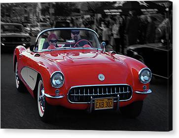 Canvas Print featuring the photograph 57 Fuel Injected Vette by Bill Dutting
