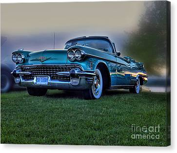 Red Chev Canvas Print - 58 Caddy by Larry Simanzik