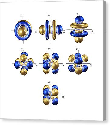 Electron Orbital Canvas Print - 5f Electron Orbitals, Cubic Set by Dr Mark J. Winter