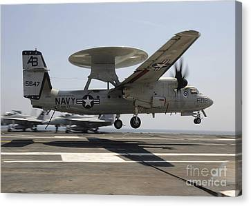 An E-2c Hawkeye Lands Aboard Canvas Print by Stocktrek Images