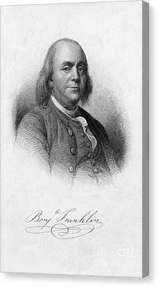 Colonial Man Canvas Print - Benjamin Franklin, American Polymath by Photo Researchers