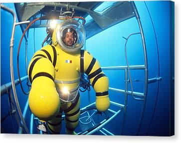 Cage Diving Canvas Print - Newtsuit Rescue Diver by Alexis Rosenfeld