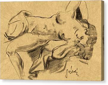 Nude Girl Canvas Print by Odon Czintos