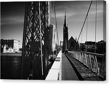 Pedestrian Suspension Footbridge The Greig Street Bridge Over The River Ness Inverness Highland Scot Canvas Print by Joe Fox