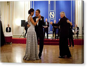 Michelle Obama Canvas Print - President And Michelle Obama Dance by Everett