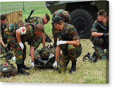 Soldiers Of A Belgian Infantry Unit Canvas Print by Luc De Jaeger