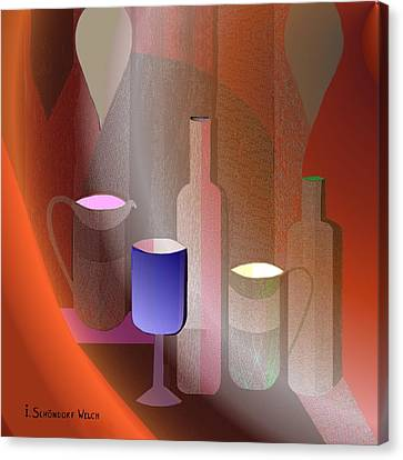 643 - Still Life  With Bottles  Cups  And A Glass Canvas Print by Irmgard Schoendorf Welch