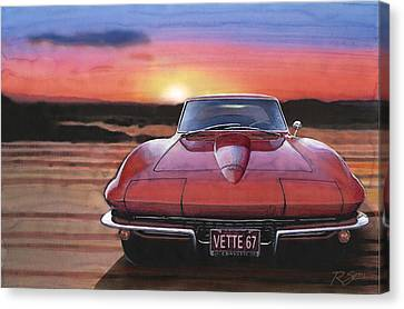 Canvas Print featuring the painting '67 Corvette Sunset by Rod Seel