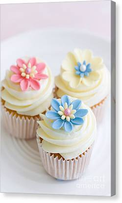 Tea Party Canvas Print - Flower Cupcakes by Ruth Black