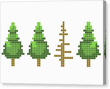 8-bit Style Trees With One Dead Tree Canvas Print by Malte Mueller