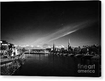 River Ness Flowing Through Inverness City Highland Scotland Uk Canvas Print by Joe Fox