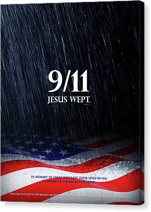 9-11 Jesus Wept Canvas Print by Shevon Johnson