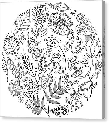 Various Plants Patterns Canvas Print by Eastnine Inc.