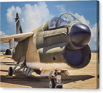 Canvas Print featuring the photograph A-7 Corsair II by Steve Benefiel