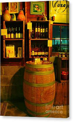 A Barrel And Wine Canvas Print by Jeff Swan