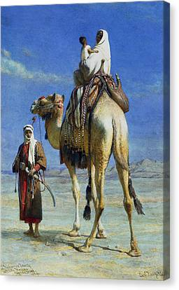 Bedouin Canvas Print - A Bedoueen Family In Wady Mousa Syrian Desert by Carl Haag