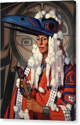 A Bellacoola Woman Wears A Raven Canvas Print by W. Langdon Kihn