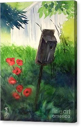 Canvas Print featuring the painting A Bird House In The Geddes Farm --ann Arbor Michigan by Yoshiko Mishina
