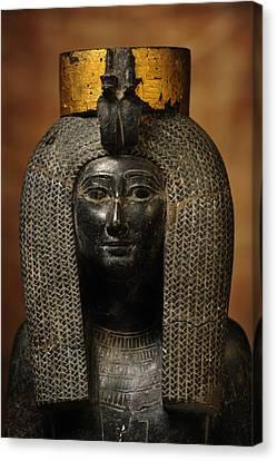 A Black Grantie Statue Of Isis Canvas Print by Kenneth Garrett