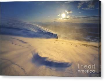 A Blizzard On Toviktinden Mountain Canvas Print by Arild Heitmann