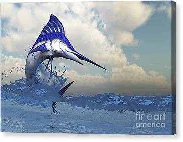 A Blue Marlin Shows Off His Beautiful Canvas Print by Corey Ford