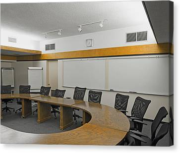 A Boardroom With An Oval Table Canvas Print by Marlene Ford