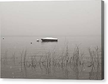 A Boat With Snow Canvas Print