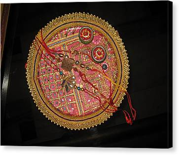 A Bowl Of Rakhis In A Decorated Dish Canvas Print by Ashish Agarwal