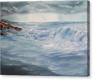Canvas Print featuring the painting A Break In Storm by Christie Minalga