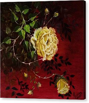 A Bright Hope Yellow Roses Canvas Print by Praisey Peter