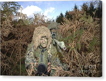 A British Army Sniper Team Dressed Canvas Print by Andrew Chittock