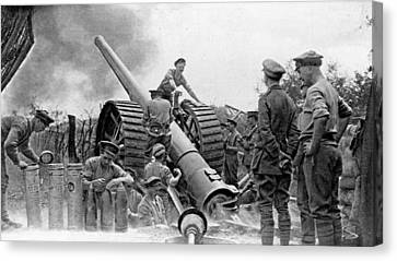 A British Heavy Gun In Action, British Canvas Print by Everett
