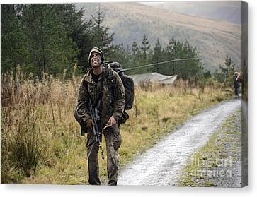 A British Soldier With Radio Canvas Print by Andrew Chittock