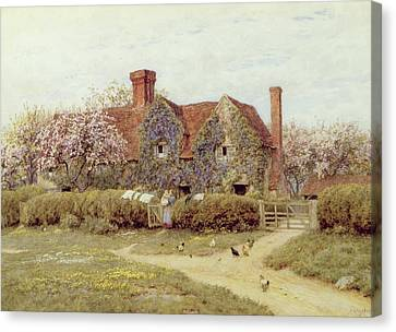 A Buckinghamshire House At Penstreet Canvas Print by Helen Allingham