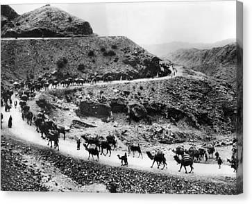 A Camel Caravan On The Khyber Pass Canvas Print