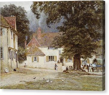 A Cart By A Village Inn Canvas Print