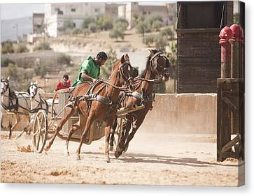 A Chariot Race In The Hippodrome Canvas Print by Taylor S. Kennedy