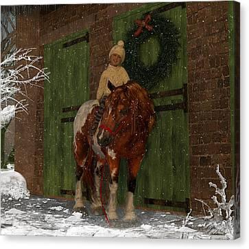A Christmas Pony Canvas Print by Heather Douglas