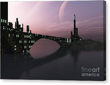 Port Town Canvas Print - A City Is Reflected In Calm Waters by Corey Ford