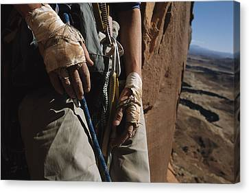 A Close View Of Rock Climber Becky Canvas Print by Bill Hatcher