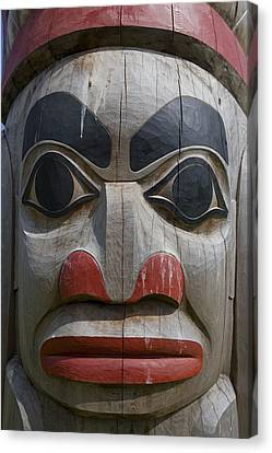 A Close View Of The Carvings Of A Totem Canvas Print by Taylor S. Kennedy