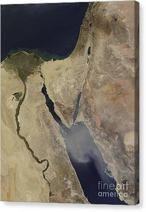 A Cloud Of Tan Dust From Saudi Arabia Canvas Print by Stocktrek Images