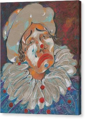 A Clown Face Canvas Print by Mary Armstrong