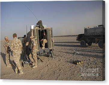 A Control Center For The Howitzer 105mm Canvas Print