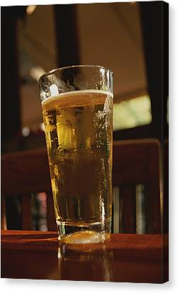 A Cool Glass Of Amber Beer Canvas Print by Stephen St. John