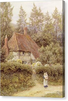 A Cottage Near Haslemere Canvas Print by Helen Allingham