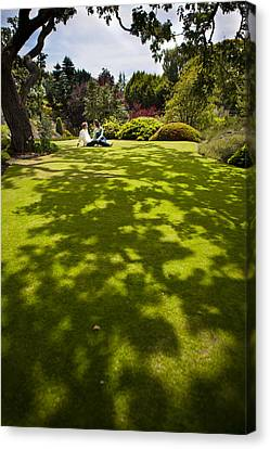 A Couple Sits On A Dappled Lawn Canvas Print by Taylor S. Kennedy