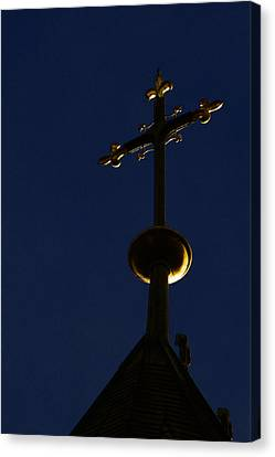 A Cross On St Vitus Cathedral Prague Canvas Print by Christine Till